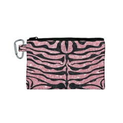 Skin2 Black Marble & Pink Glitter Canvas Cosmetic Bag (small) by trendistuff