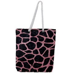 Skin1 Black Marble & Pink Glitter Full Print Rope Handle Tote (large) by trendistuff