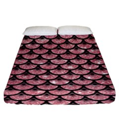 Scales3 Black Marble & Pink Glitter Fitted Sheet (king Size) by trendistuff