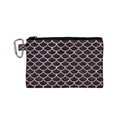Scales1 Black Marble & Pink Glitter (r) Canvas Cosmetic Bag (small) by trendistuff