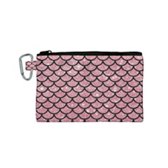 Scales1 Black Marble & Pink Glitter Canvas Cosmetic Bag (small) by trendistuff
