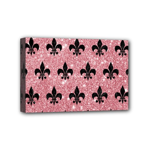 Royal1 Black Marble & Pink Glitter (r) Mini Canvas 6  X 4