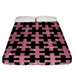 Puzzle1 Black Marble & Pink Glitter Fitted Sheet (california King Size)