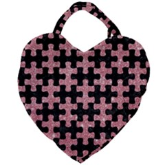 Puzzle1 Black Marble & Pink Glitter Giant Heart Shaped Tote by trendistuff