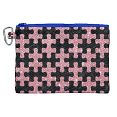 Puzzle1 Black Marble & Pink Glitter Canvas Cosmetic Bag (xl) by trendistuff
