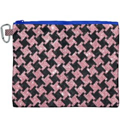 Houndstooth2 Black Marble & Pink Glitter Canvas Cosmetic Bag (xxxl) by trendistuff