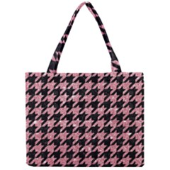 Houndstooth1 Black Marble & Pink Glitter Mini Tote Bag by trendistuff