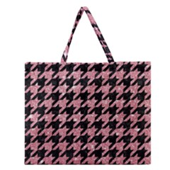 Houndstooth1 Black Marble & Pink Glitter Zipper Large Tote Bag by trendistuff