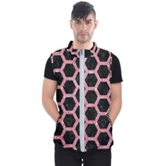Hexagon2 Black Marble & Pink Glitter (r) Men s Puffer Vest