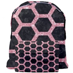 Hexagon2 Black Marble & Pink Glitter (r) Giant Full Print Backpack