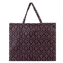 Hexagon1 Black Marble & Pink Glitter (r) Zipper Large Tote Bag by trendistuff