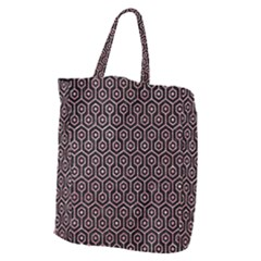 Hexagon1 Black Marble & Pink Glitter (r) Giant Grocery Zipper Tote