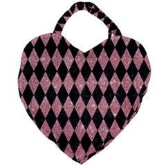 Diamond1 Black Marble & Pink Glitter Giant Heart Shaped Tote by trendistuff