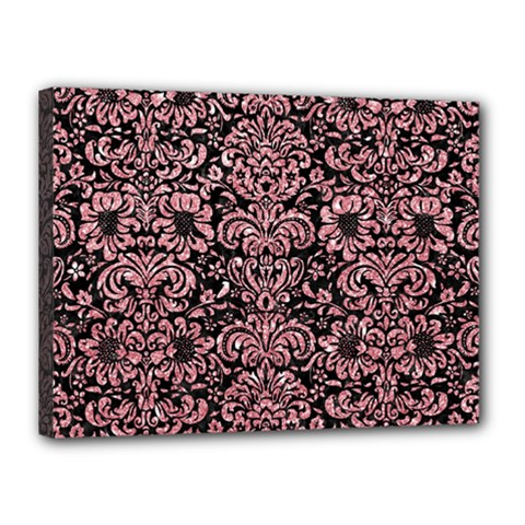 Damask2 Black Marble & Pink Glitter (r) Canvas 16  X 12  by trendistuff