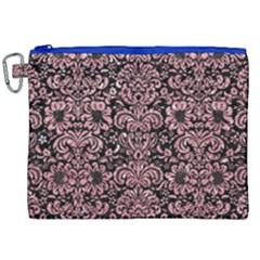 Damask2 Black Marble & Pink Glitter (r) Canvas Cosmetic Bag (xxl) by trendistuff