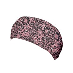 Damask2 Black Marble & Pink Glitter Yoga Headband