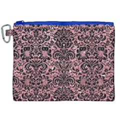 Damask2 Black Marble & Pink Glitter Canvas Cosmetic Bag (xxl) by trendistuff