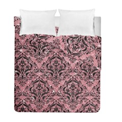 Damask1 Black Marble & Pink Glitter Duvet Cover Double Side (full/ Double Size) by trendistuff