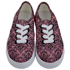 Damask1 Black Marble & Pink Glitter Kids  Classic Low Top Sneakers