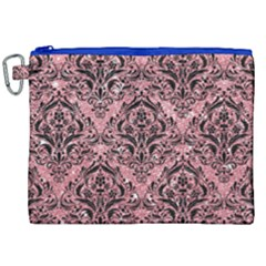 Damask1 Black Marble & Pink Glitter Canvas Cosmetic Bag (xxl) by trendistuff
