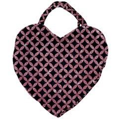 Circles3 Black Marble & Pink Glitter (r) Giant Heart Shaped Tote by trendistuff
