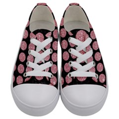 Circles1 Black Marble & Pink Glitter (r) Kids  Low Top Canvas Sneakers