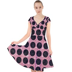 Circles1 Black Marble & Pink Glitter Cap Sleeve Front Wrap Midi Dress