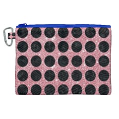 Circles1 Black Marble & Pink Glitter Canvas Cosmetic Bag (xl) by trendistuff