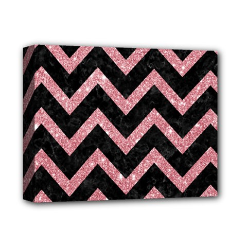 Chevron9 Black Marble & Pink Glitter (r) Deluxe Canvas 14  X 11  by trendistuff