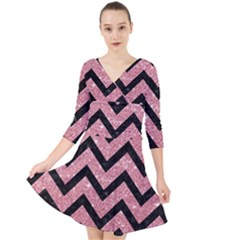 Chevron9 Black Marble & Pink Glitter Quarter Sleeve Front Wrap Dress