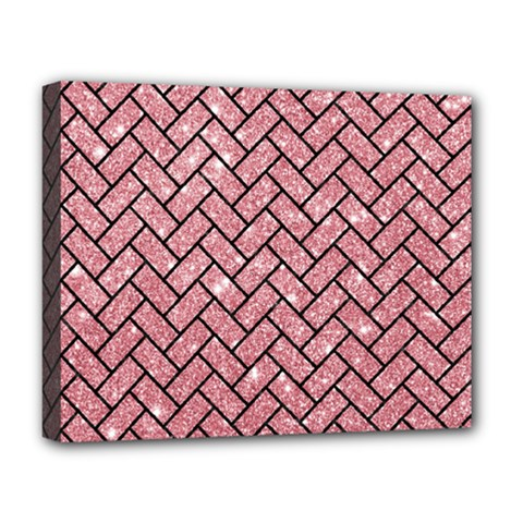 Brick2 Black Marble & Pink Glitter Deluxe Canvas 20  X 16   by trendistuff