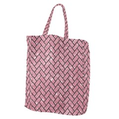 Brick2 Black Marble & Pink Glitter Giant Grocery Zipper Tote by trendistuff