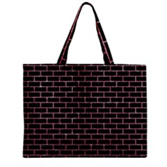 Brick1 Black Marble & Pink Glitter (r) Zipper Mini Tote Bag by trendistuff