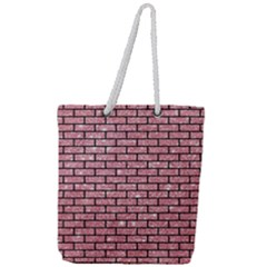 Brick1 Black Marble & Pink Glitter Full Print Rope Handle Tote (large) by trendistuff