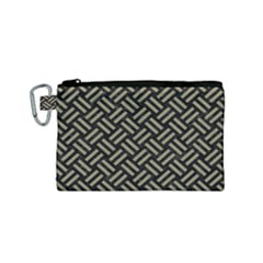 Woven2 Black Marble & Khaki Fabric (r) Canvas Cosmetic Bag (small) by trendistuff