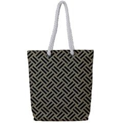 Woven2 Black Marble & Khaki Fabric Full Print Rope Handle Tote (small) by trendistuff