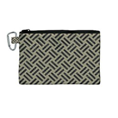 Woven2 Black Marble & Khaki Fabric Canvas Cosmetic Bag (medium) by trendistuff