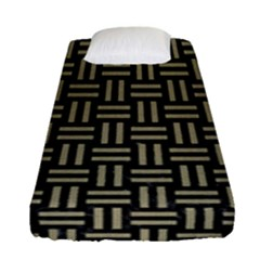 Woven1 Black Marble & Khaki Fabric (r) Fitted Sheet (single Size) by trendistuff