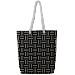 Woven1 Black Marble & Khaki Fabric (r) Full Print Rope Handle Tote (small) by trendistuff