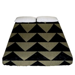 Triangle2 Black Marble & Khaki Fabric Fitted Sheet (king Size) by trendistuff