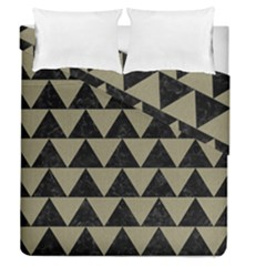 Triangle2 Black Marble & Khaki Fabric Duvet Cover Double Side (queen Size) by trendistuff