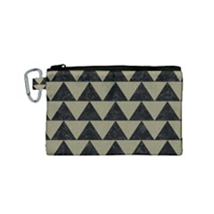 Triangle2 Black Marble & Khaki Fabric Canvas Cosmetic Bag (small) by trendistuff