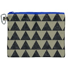Triangle2 Black Marble & Khaki Fabric Canvas Cosmetic Bag (xxl) by trendistuff