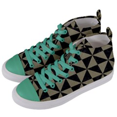 Triangle1 Black Marble & Khaki Fabric Women s Mid Top Canvas Sneakers by trendistuff