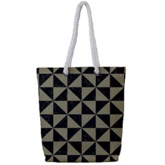 Triangle1 Black Marble & Khaki Fabric Full Print Rope Handle Tote (small) by trendistuff
