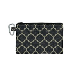 Tile1 Black Marble & Khaki Fabric (r) Canvas Cosmetic Bag (small) by trendistuff