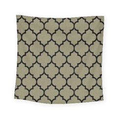 Tile1 Black Marble & Khaki Fabric Square Tapestry (small) by trendistuff