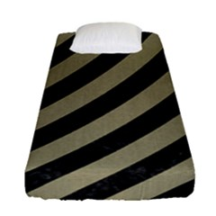 Stripes3 Black Marble & Khaki Fabric (r) Fitted Sheet (single Size) by trendistuff