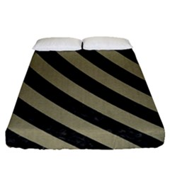 Stripes3 Black Marble & Khaki Fabric Fitted Sheet (queen Size) by trendistuff