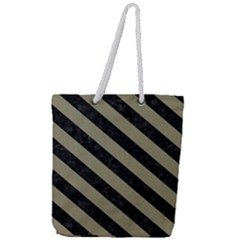 Stripes3 Black Marble & Khaki Fabric Full Print Rope Handle Tote (large) by trendistuff